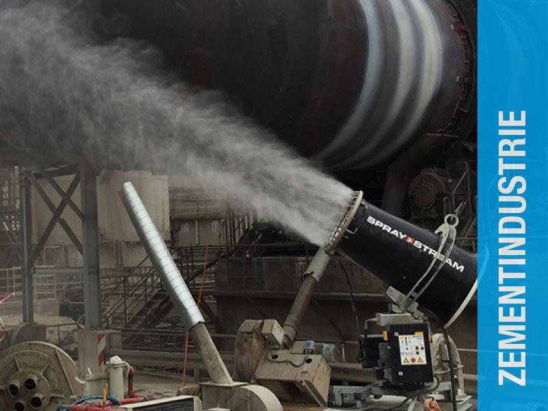 AQUACO Staubbindemaschine im Bereich Zementindustrie Vorkühlung Drehrohrofen